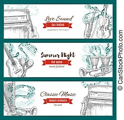 Music festival banners, musical instruments sketch