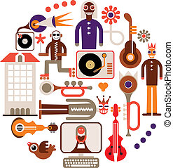 Music Festival. Carnival - abstract vector background. Isolated round illustration on white background.