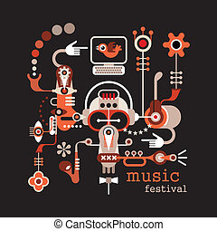 """Music Festival - isolated vector illustration on black background. Artwork placard with text """"Music Festivall""""."""
