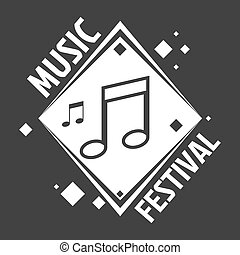 Music festival labels of vector musical notes