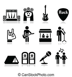 Rock'n'roll, music event icons set isolated on white