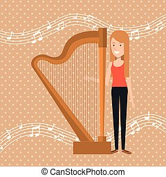 music festival live with woman playing harp