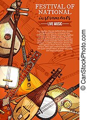 Music festival national instruments vector poster