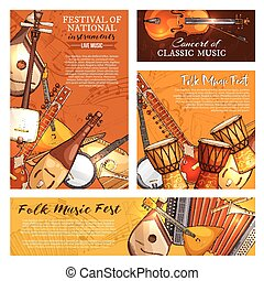 Music festival poster of musical instruments