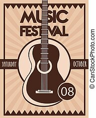 music festival poster with guitar acoustic instrument in vintage background