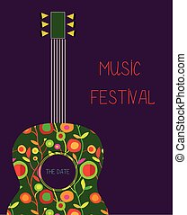 Music festival poster with guitar and flowers