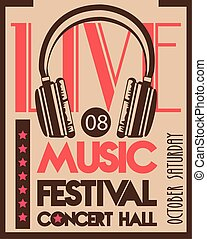 music festival poster with headphone audio device in vintage background