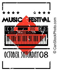 music festival poster with piano and lettering in vintage background