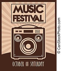 music festival poster with speaker vintage style