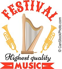 Music festival sign with harp and trumpet