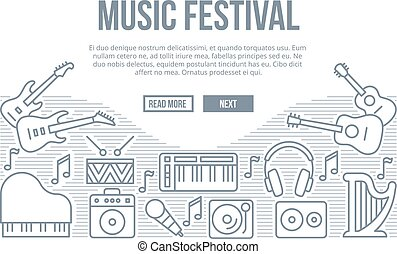 Music festival vector background with line icons