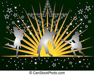 music festival - vector illustration of people silhouettes...