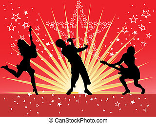 music festival - vector illustration of people silhouettes ...