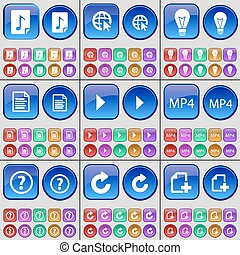 Music file, Web cursor, Light bulb, Text file, Media play, MP4, Question mark, Reload, File. A large set of multi-colored buttons. Vector