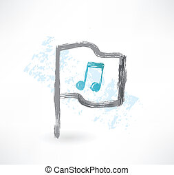 Music flag grunge icon