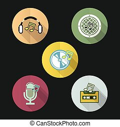 music flat icon design set