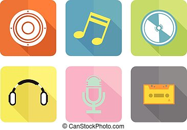 music flat icon set