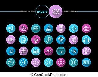 Music flat icons set