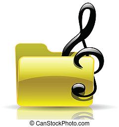 Music folder - Illustration of the music folder on a white...