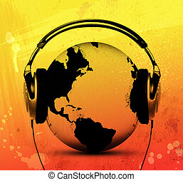 Music for the world - Globe with headphones