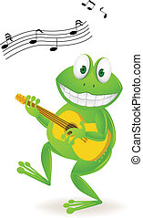 Music frog - Vector illustration of frog plying guitar