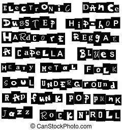 Music genres made of letters
