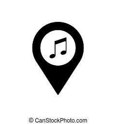 Music geo tag outline icon. Symbol, logo illustration for mobile concept and web design.