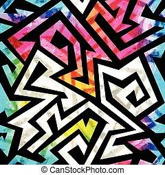 music geometric seamless pattern with grunge effect