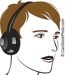 music., giovane, ascolto, uomo