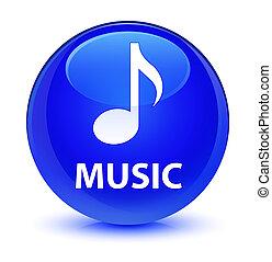 Music glassy blue round button