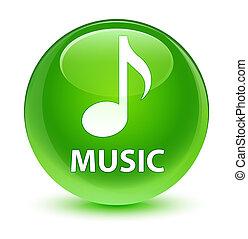 Music glassy green round button