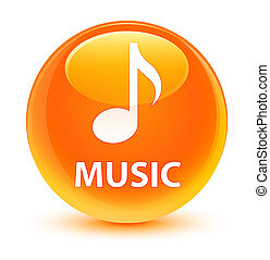 Music glassy orange round button