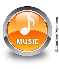 Music glossy orange round button