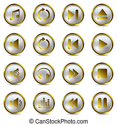 Music gold icons set