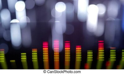 music graphic equalisers and audio analysis clip. shot from...