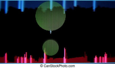 music graphic equalisers and audio analysis clip, (could also represent scientific analysis)