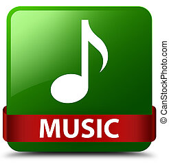 Music green square button red ribbon in middle