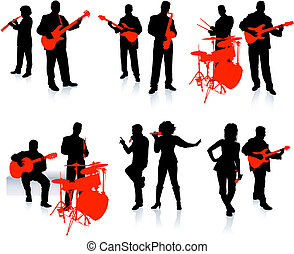 Music group with singers and instruments on white background