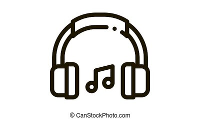 Music Headphones And Musical Notes animated black icon on white background