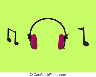 Music Headphones and Notes - Music notes and headphones on a...
