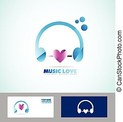 Music headphones logo icon love heart
