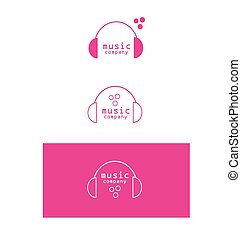 Music headphones logo icon