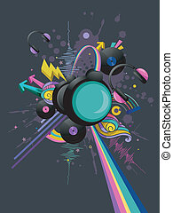 Music Headphones with Vinyl Records Design - Illustration of...
