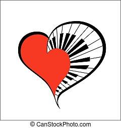 music heart. vector