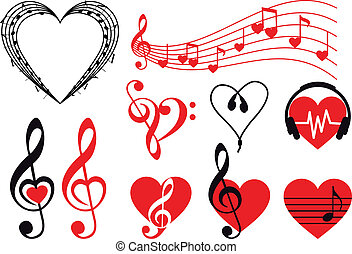music hearts, vector - music hearts set, vector design ...
