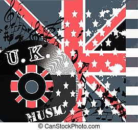 Music hipster background with UK and USA flags and music notes for design