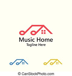 Music home, studio of melody. Vector logo template