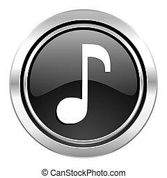 music icon, black chrome button, note sign