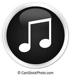 Music icon black glossy round button