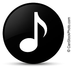 Music icon black round button